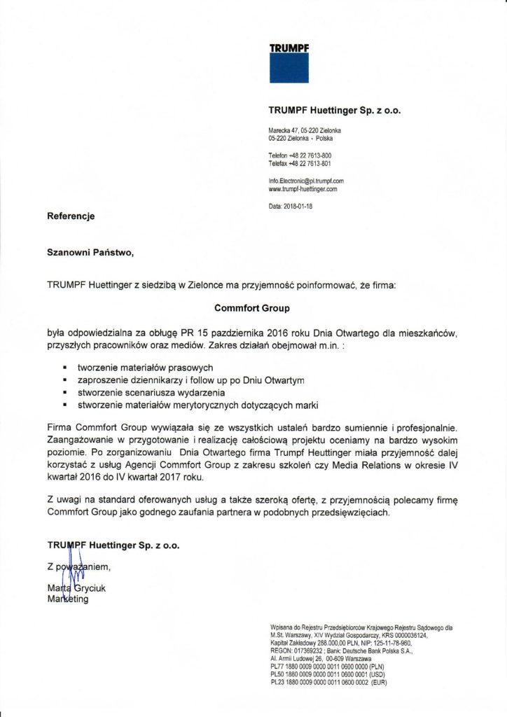 Referencje TRUMPF Huettinger